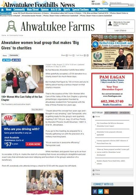 100+ Women Who Care Valley of the Sun Foothills News Article